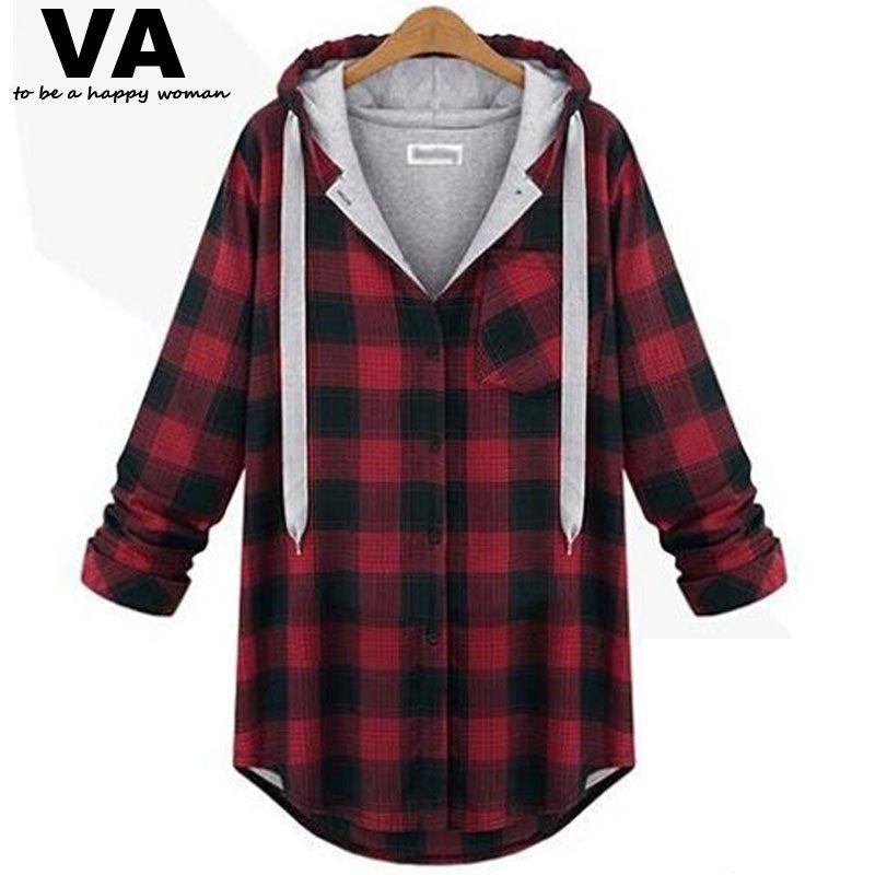 free shipping] buy best va women plus size autumn winter red plaid