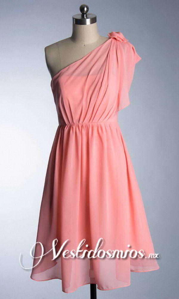 Solo Hombro Flores Chiffon Vestido Coctel Corto | Ropa | Pinterest ...