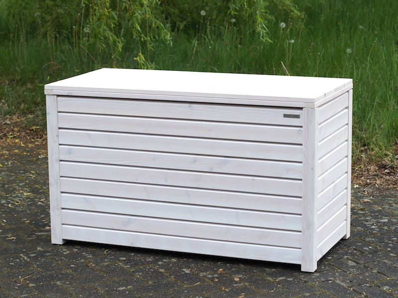 Auflagenbox Kissenbox Aus Wetterfestem Holz Douglasie Oberflache Transparent Geolt Weiss Auflagenbox Kissenbox Gartenbox Holz