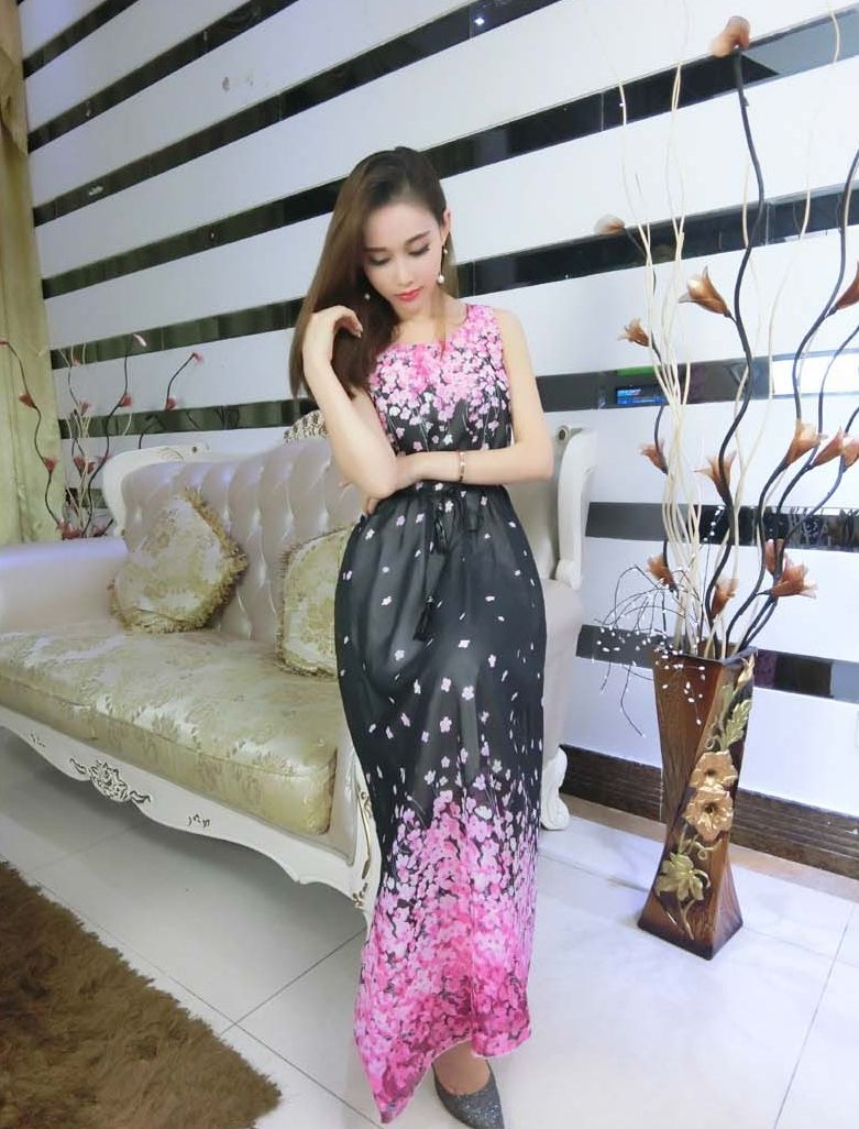 Sexy long dress chiffon black ds bajeu koleksi fashion