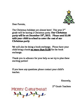 Christmas Party Letter  Christmas Letters And School