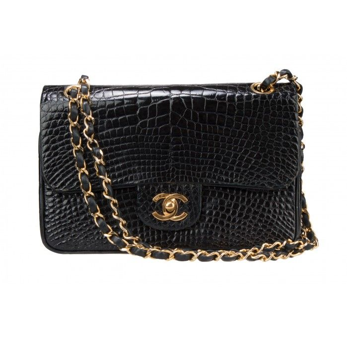 f50ef7e9d4dfb6 Vintage Chanel Black Alligator 2.55 Double Flap Bag, accompanied by vintage  dust bag and box.