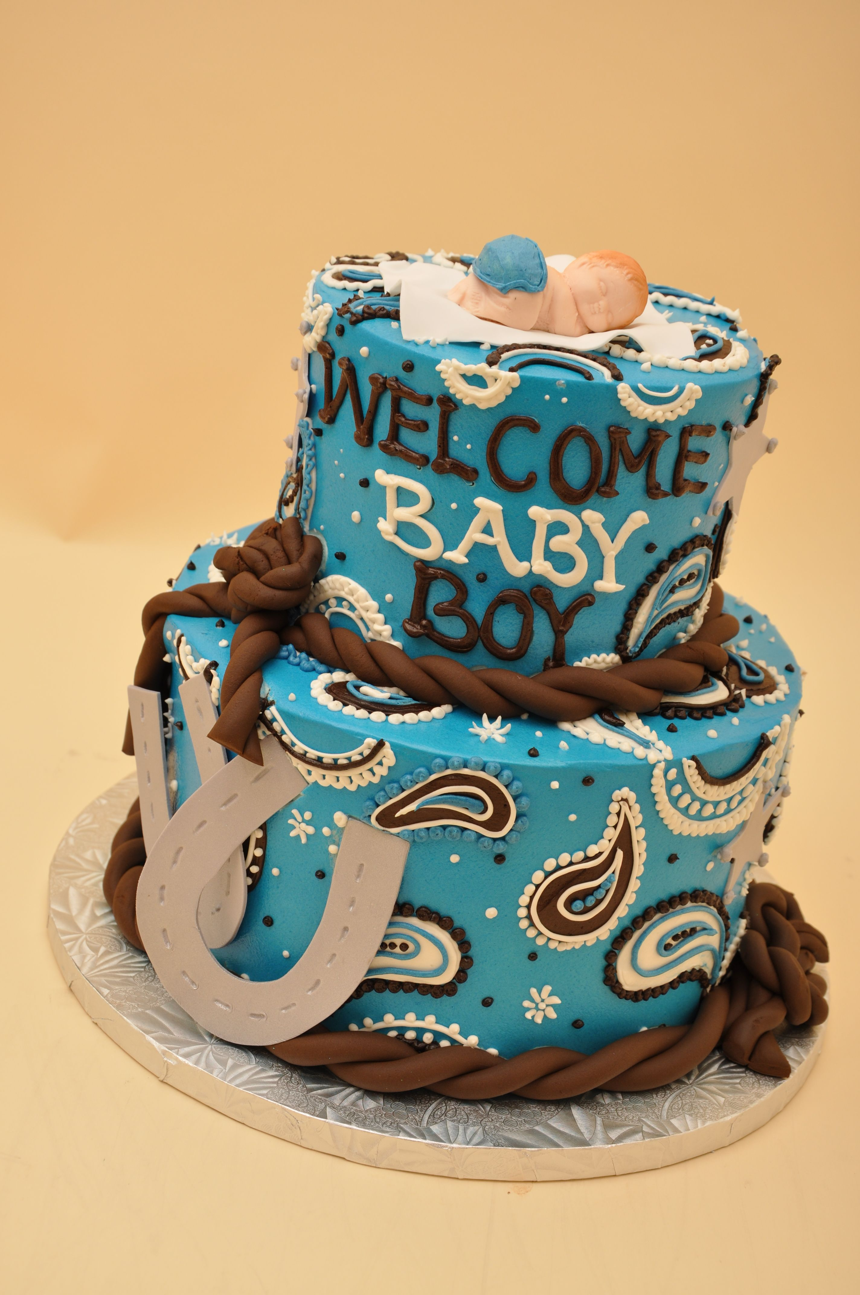 Bethel Bakery Two Tier Boy Western Baby Shower Designs Bethel