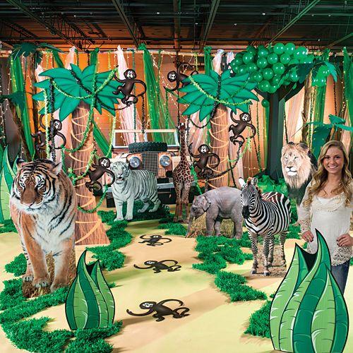 Jungle safari theme party decorations shindigz diy for Decoration jungle