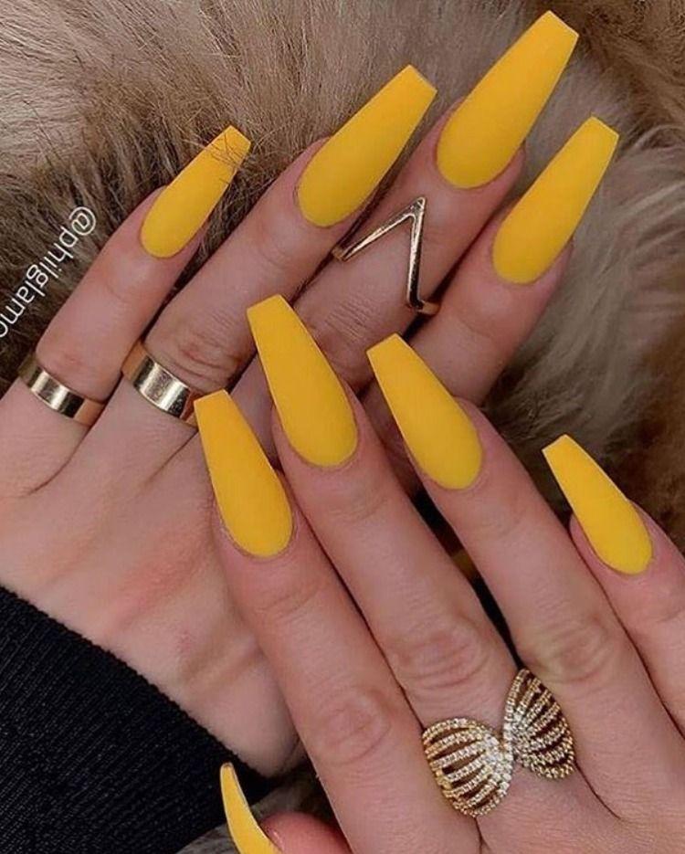 So Cute Mustard Yellow Matte Coffin Nails Acrylic Nails Yellow Yellow Nails Design Yellow Nails