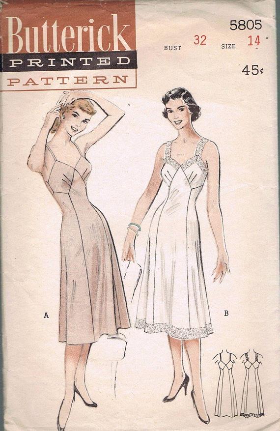 3a51258469f26 Size 14 Misses' 1950s Full Slip Pattern - Vintage Lingerie Pattern ...