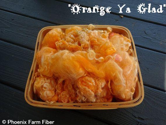 Hand Dyed Mixed Locks in Orange Ya Glad by PhoenixFarmFiber