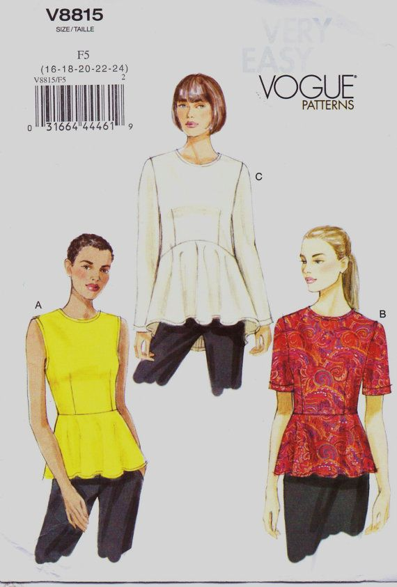 Very Easy Vogue Pattern V8815 Womens Top with by CloesCloset, $10.00 ...