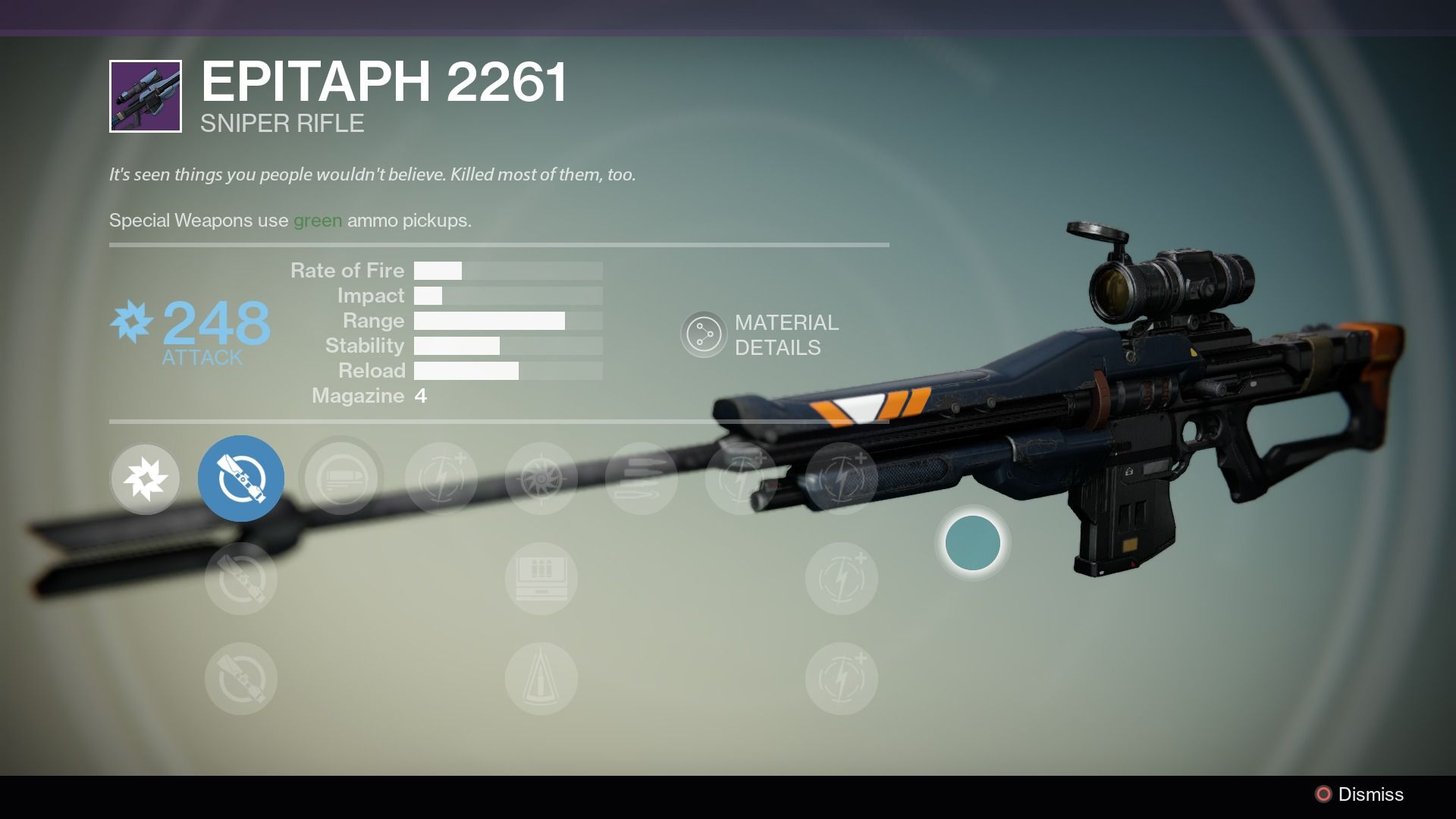 The Epitaph 2261 is a legendary Vanguard sniper rifle. Roni 55-30 sells the  Arc Damage version only. Other damage types are possible from engrams.