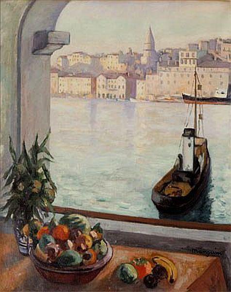 Henri Manguin - Fenêtre ouverte sur le vieux port MANGUIN - Peinture Porte Et Fenetre