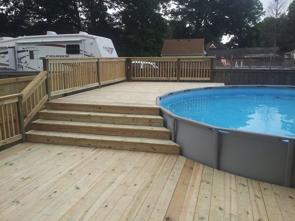Deck Steps Swimming Pools Backyard Best Above Ground Pool Pool Landscaping