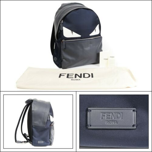 47371dac6e7 NWT FENDI Blue Monster Eyes Mohawk Fur Leather Backpack Bag Handbag Purse