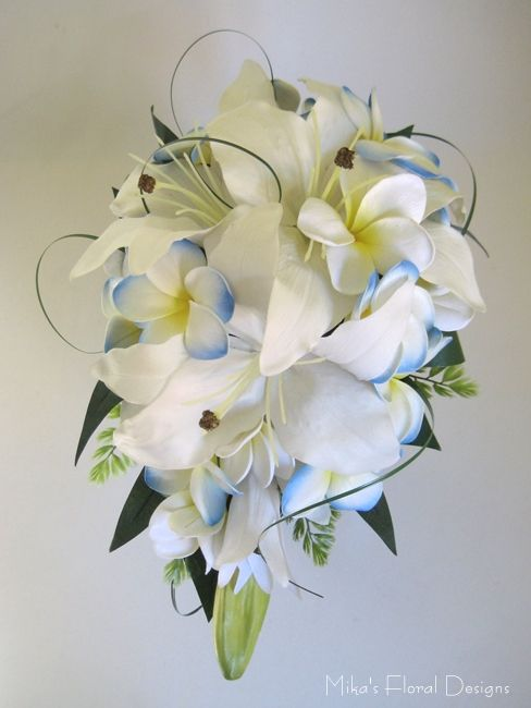 Latex Oriental Lily And Real Touch Frangipani Teardrop Bouquet 170