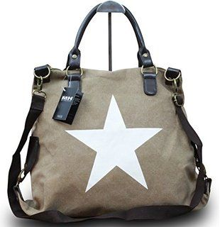 56290418b9cae My-Musthave XXL Shopper Canvas-Tasche Blogger mit Stern Schultertasche  Canvas Vintage Used Look