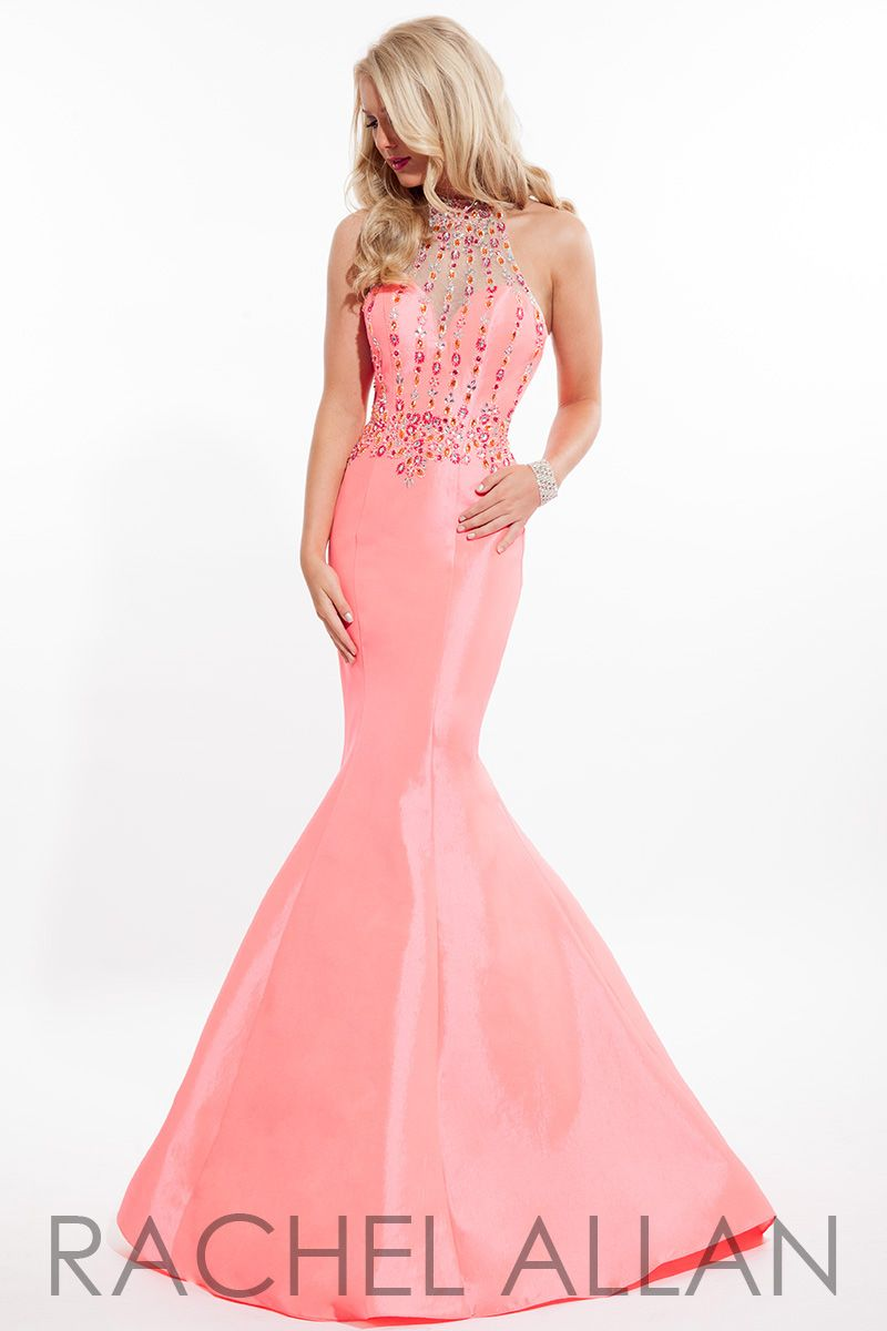 taffeta mermaid gown with high beaded neck gowns