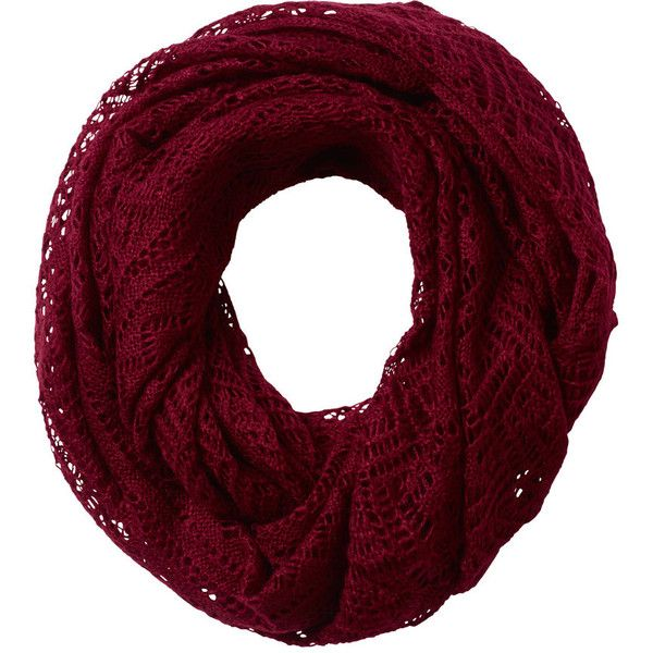 Fat Face Crochet Knitted Snood featuring polyvore, fashion, accessories, scarves, clothing, bufandas, red, crochet shawl, crochet snoods, snood scarves, red scarves and fat face