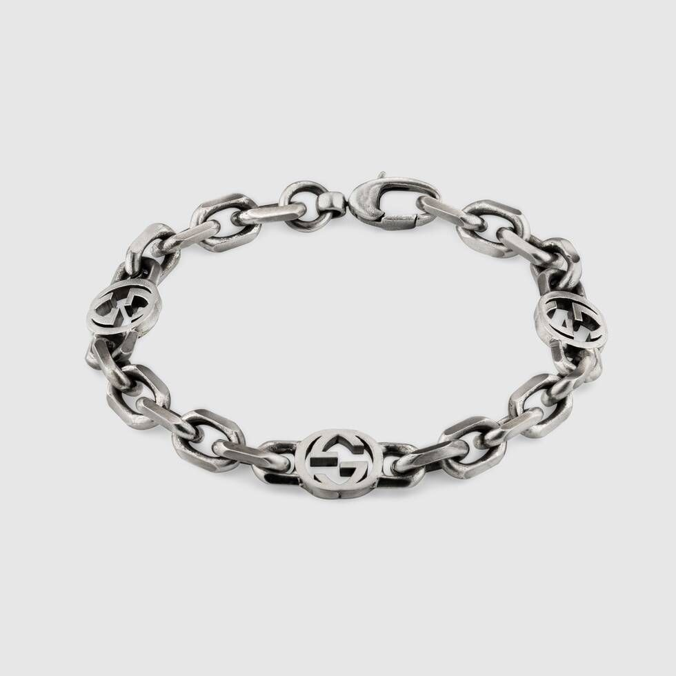 Gucci Silver Bracelet With Interlocking G In 2020 Gucci Silver Bracelet Silver Bracelet Bracelets