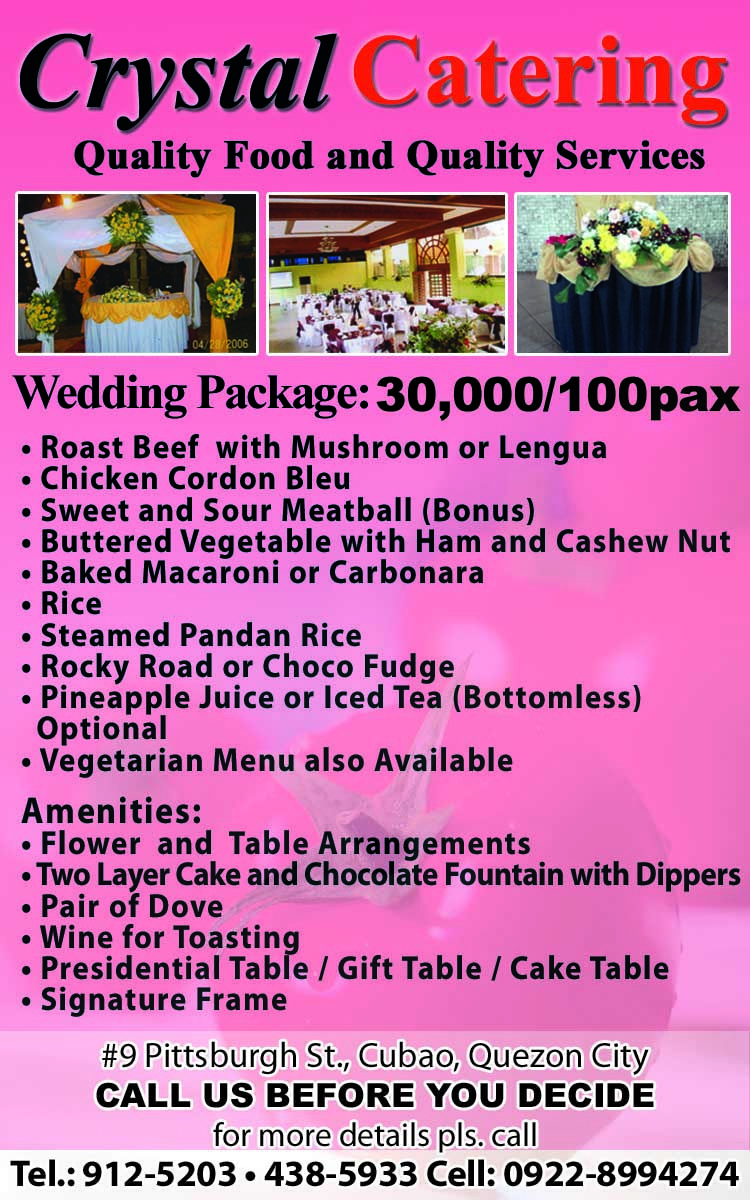 Check Out Crystal Catering In The Pages Of WEDDING DIGEST 10th EDITION Featuring PATRICIA JAVIER On Cover Caterers Food Gourmet Affordable