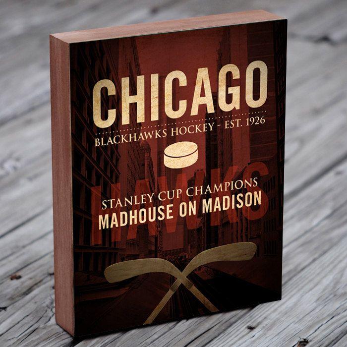 Chicago Blackhawks Art - Chicago Blackhawks - Wood Block Art Print