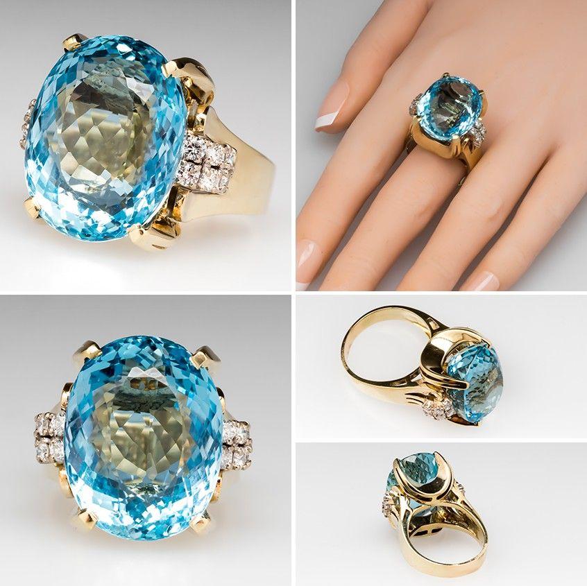 Giant natural aquamarine diamond ring 14k gold the