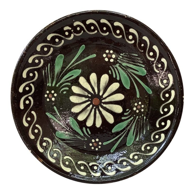 19th Century French Pottery Savoie floral platter. Country style.