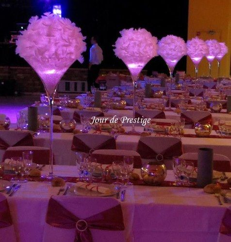 d coration vase martini boule de plumes id e mariage pinterest centerpieces wedding and. Black Bedroom Furniture Sets. Home Design Ideas