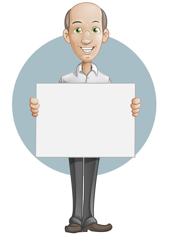 Bald man vector character holding a whiteboard in his hands #man