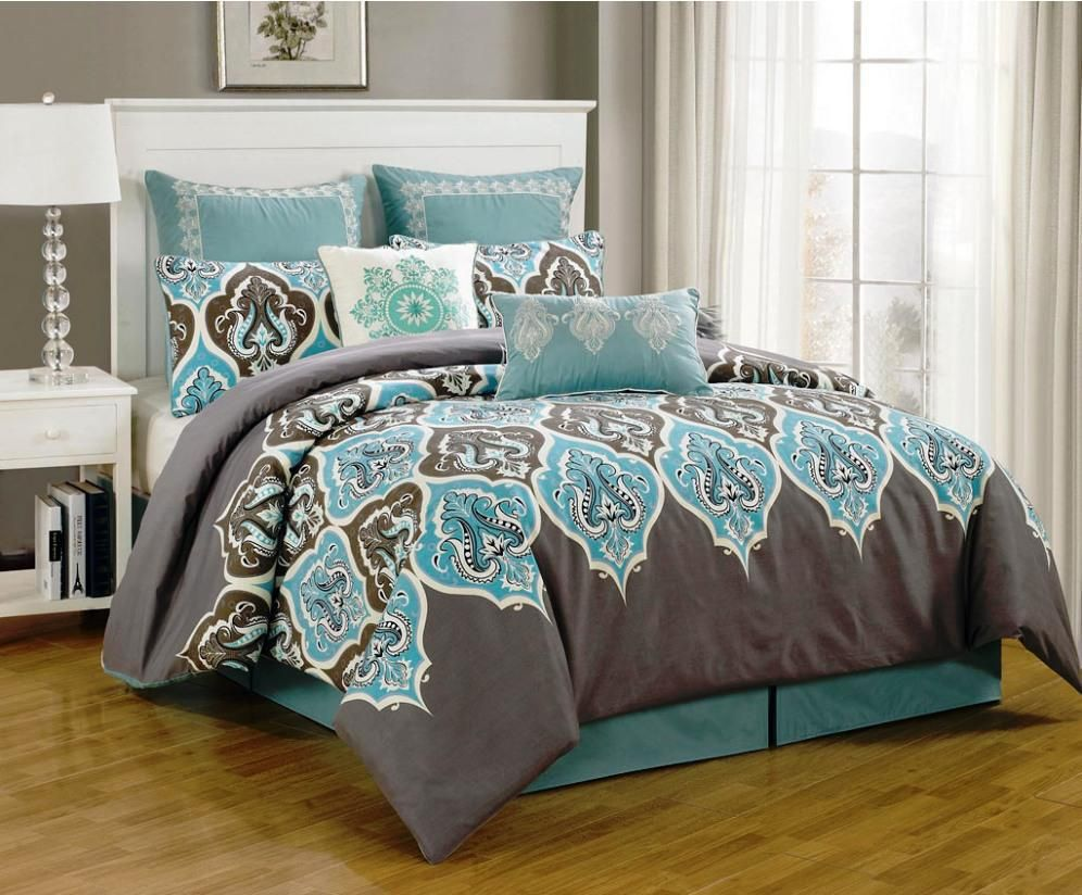 Bedroom Ideas Cozy Bed Bath And Beyond Comforters With Black Natural Tile Flooring And White Standing Lam Teal Bedroom Grey And Teal Bedding Teal Bedding Sets