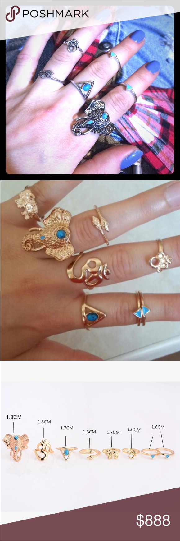 wholesale boho elephant rings GOLD OR SILVER SET SETS OF 5 or 8 BOHO STYLE RINGS WILL BE AVAIL IN BOTH SILVER & GOLD IN WHOLESALE Lots OF 3 entire sets! RETAIL READY! Packages  are like all of my orders.. With love! U COUTURE Jewelry Rings