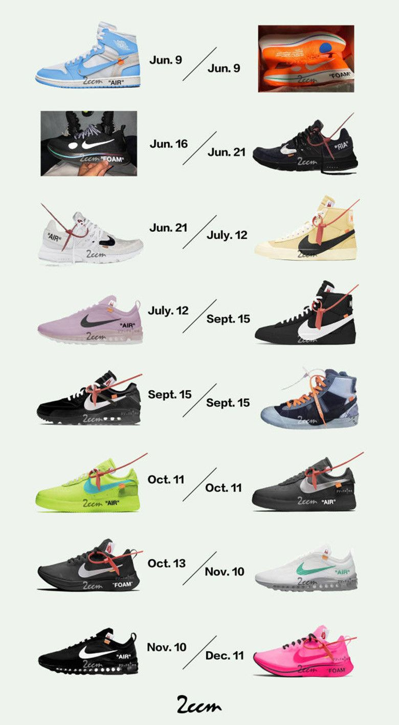 new concept cea73 7ad1b Every OFF WHITE x Nike Sneaker Releasing For The Rest Of 2018