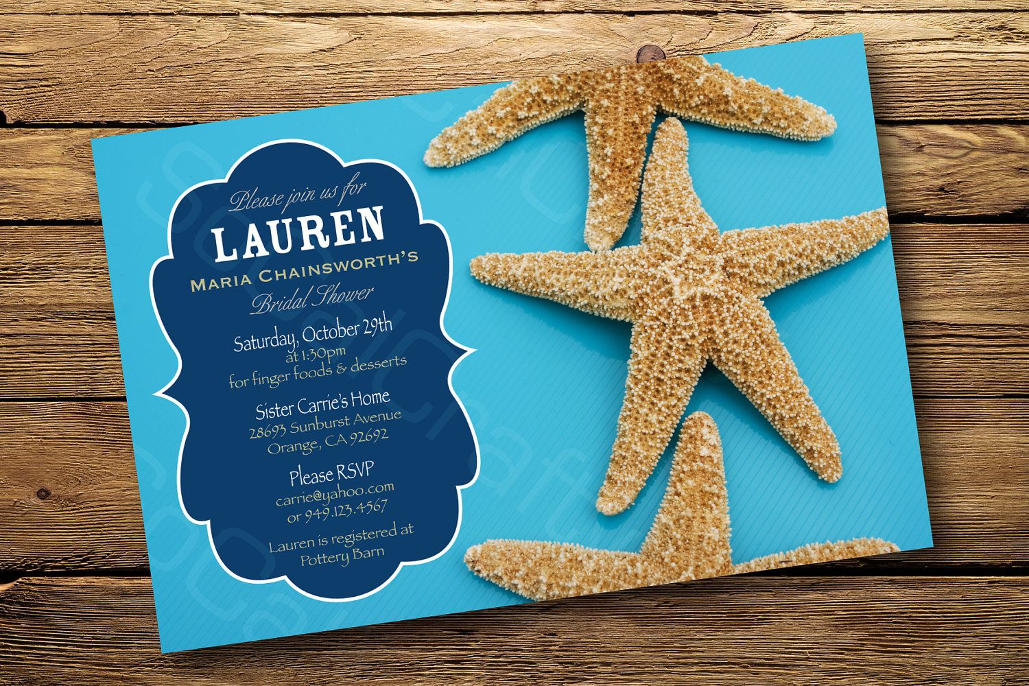 Starfish Beach Themed Bridal Shower or Engagement Party Invitation ...