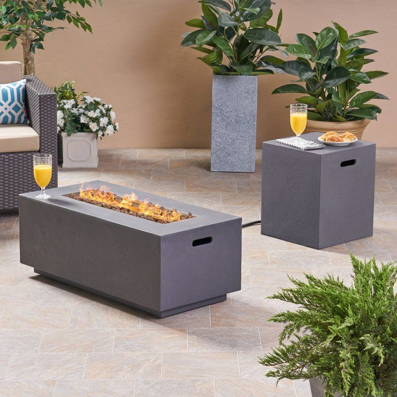 Caelan Outdoor Concrete Propane Gas Fire Pit Gas Fire Pit Table