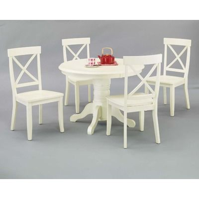 Home Styles Creamy White 5 Piece Pedestal Dining Set 572 Round