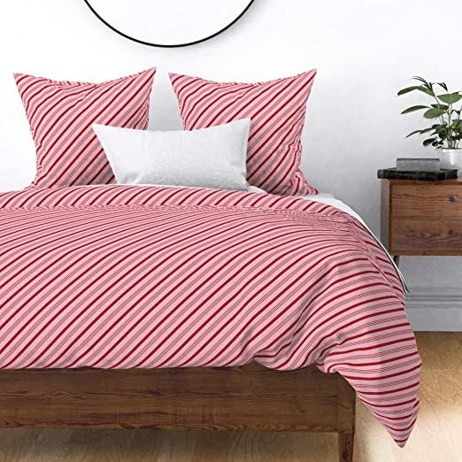 Roostery Duvet Cover Candy Cane Stripes Holiday Christmas Trendy Red And Pink Baby Girl Candy Cane Print 1 Christmas Duvet Cover Christmas Duvet Duvet Covers