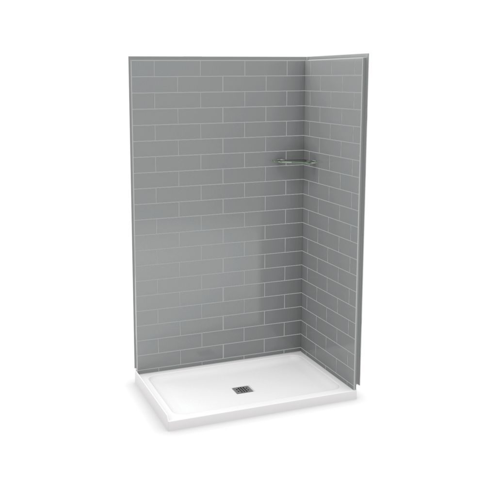 Utile 32 Inch X 48 Inch Corner Shower Stall In Metro Ash Grey
