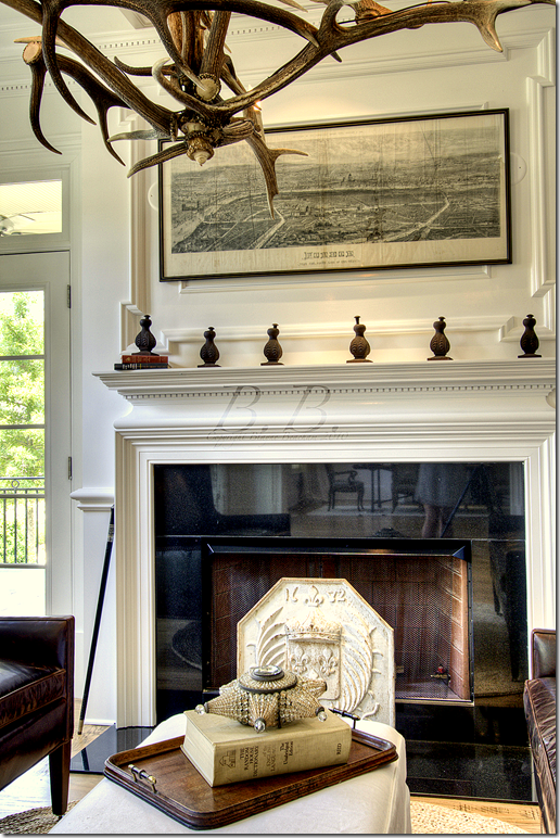 love the antlers as the light fixture...mix of masculine ...