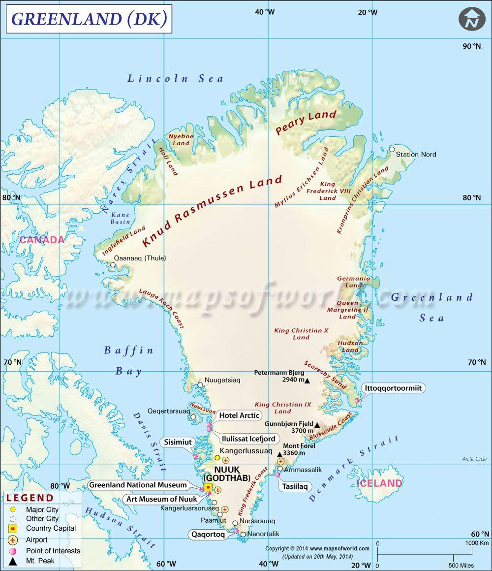 Greenland Map | Greenland | Greenland map, Map, Nuuk greenland