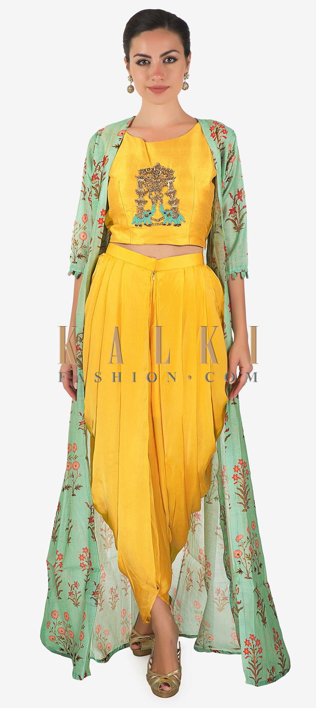 d01bbe7f9a We ship worldwide (Free Shipping over US$100) Click Anywhere to Tag Yellow  crop top matched with fancy dhoti pant and a full length floral jackect  only ...