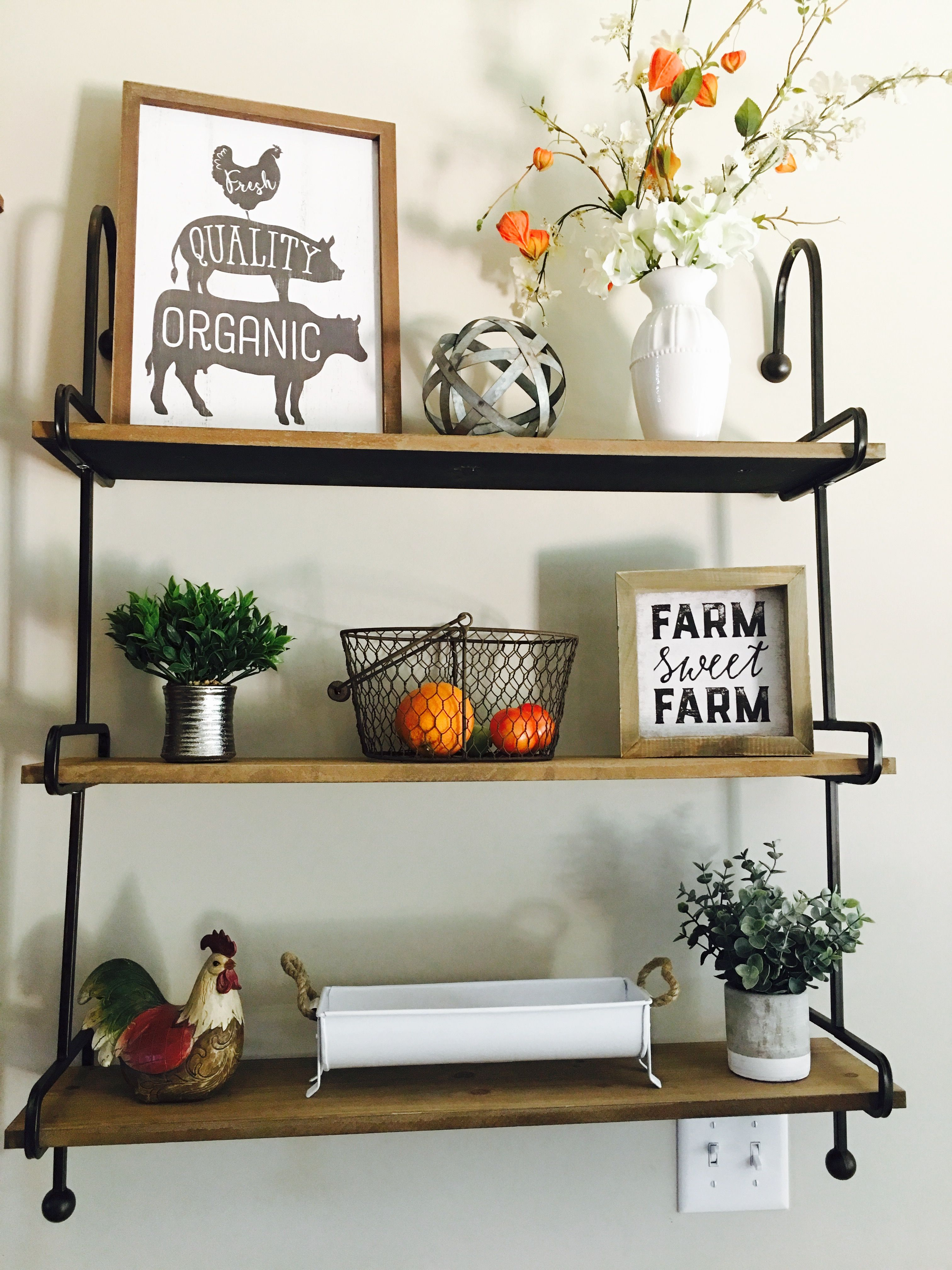 New Farmhouse Shelves From Kirklands I Styled For My Kitchen Love