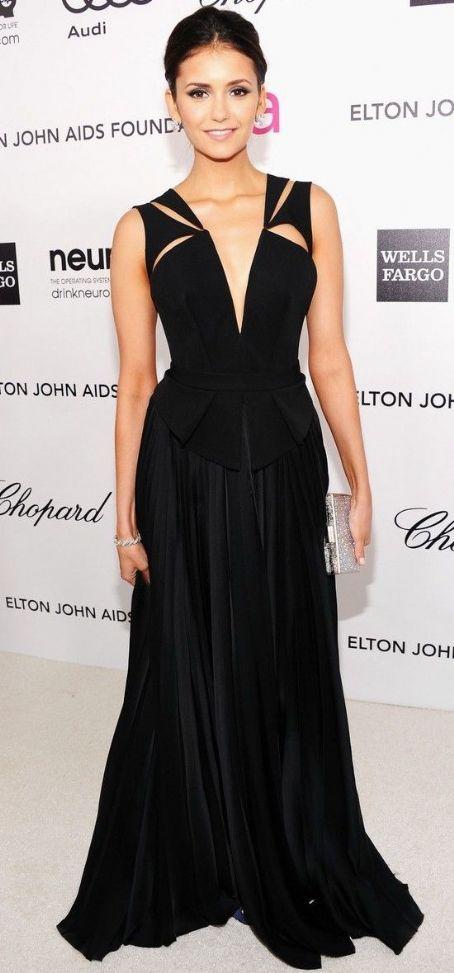 Nina Dobrev in J. Mendel at the 2012 Elton John AIDS Foundation Academy Awards Viewing Party