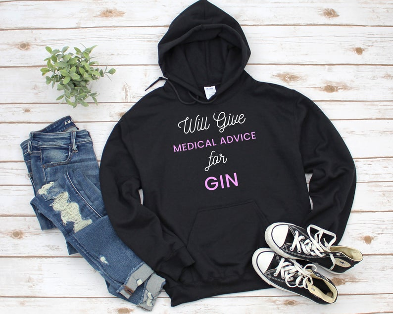 Medical Advice For Gin pink and white text design the