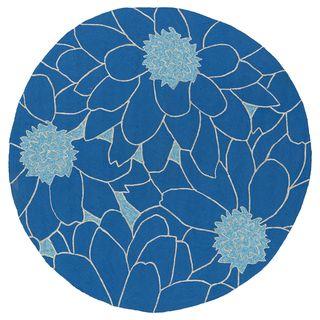 Fiesta Round Blue Flower Indoor Outdoor Rug 5 9 3 Home Decor