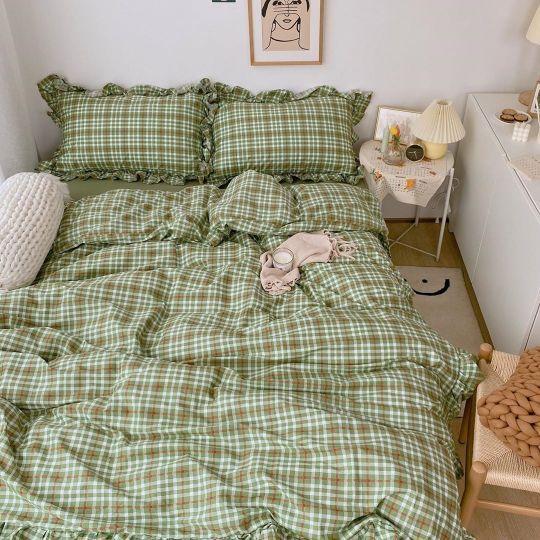 Green Plaid Beddings Room Inspiration Bedroom Room Ideas Bedroom Room Inspo