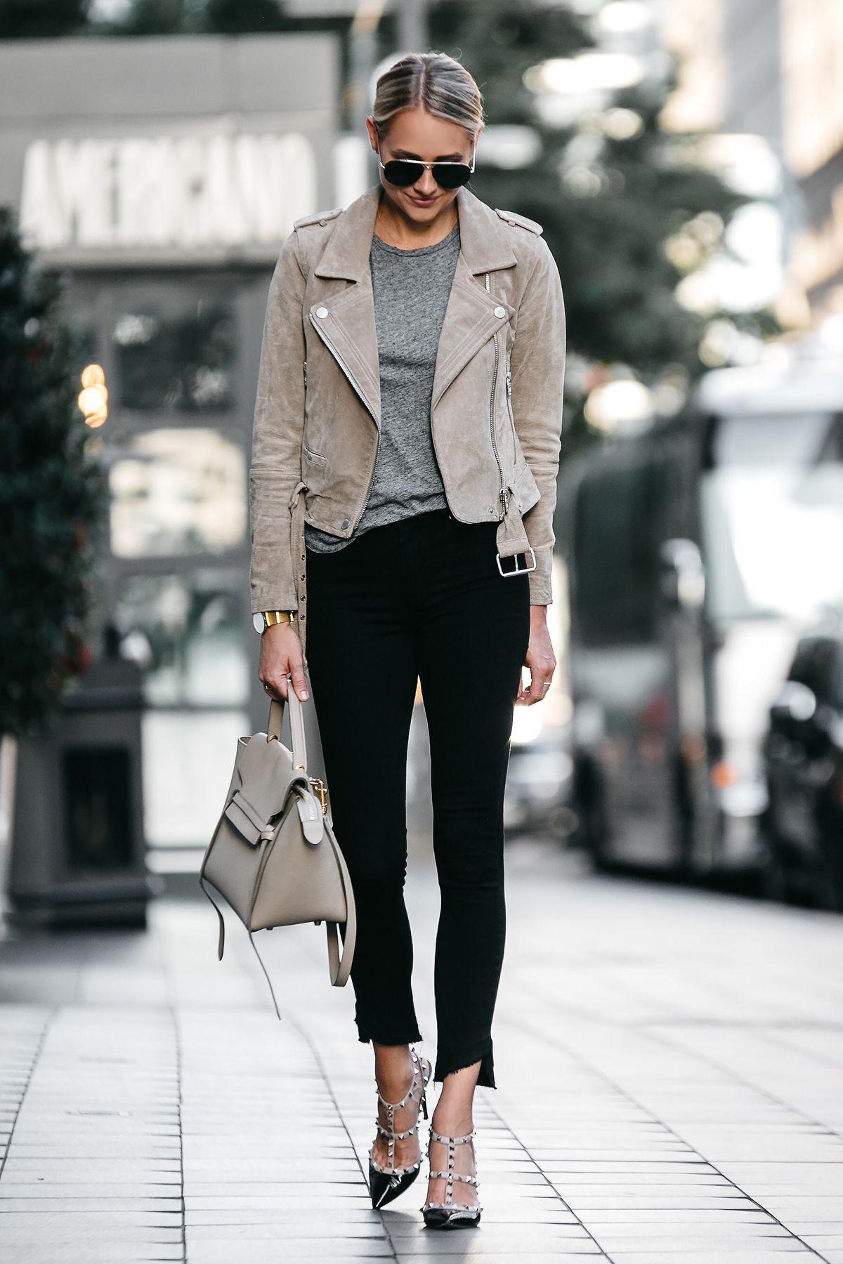 836c1328d7b Blonde Woman Wearing Blanknyc Tan Suede Moto Jacket Grey Tshirt Black  Skinny Jeans Outfit Valentino Rockstud Pumps Celine Belt Bag Fashion  Jackson Dallas ...