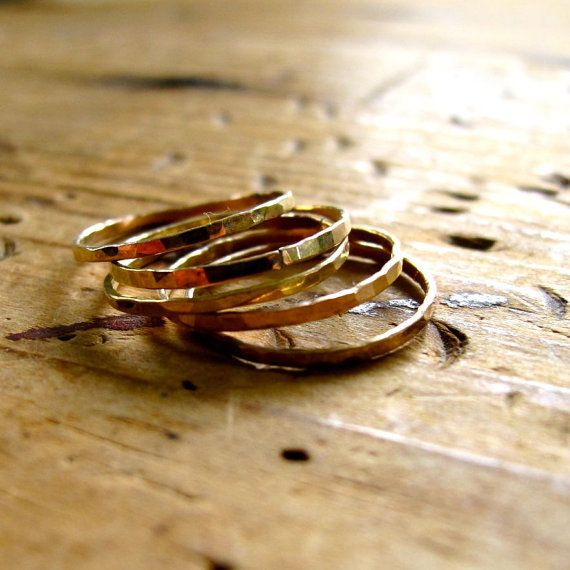 Pretty Girl Gold Stacking Rings  Set of Five 14K by delialangan, $68.00
