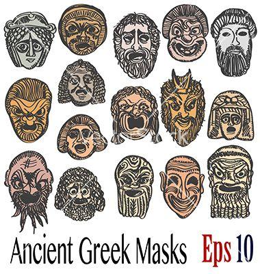 Ancient Greek Masks Vector 4147753