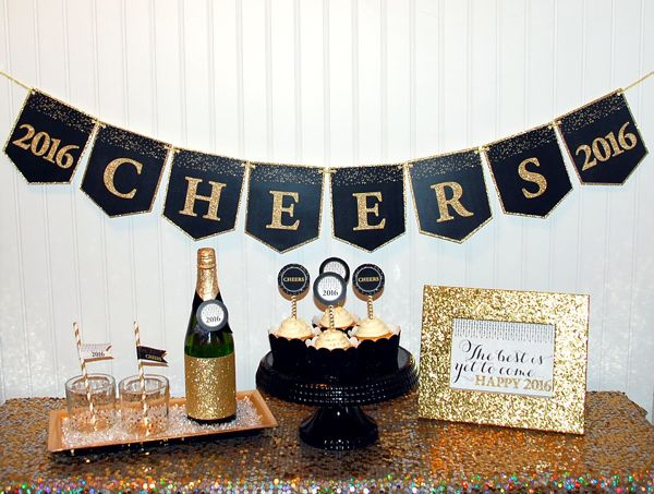 get this glam black and gold 2016 cheers banner free printable on wwwprettymypartycom
