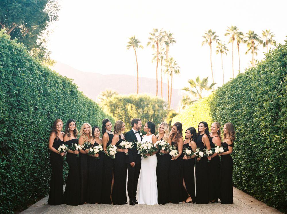 Bridesmaids Black dresses Palm Springs Wedding