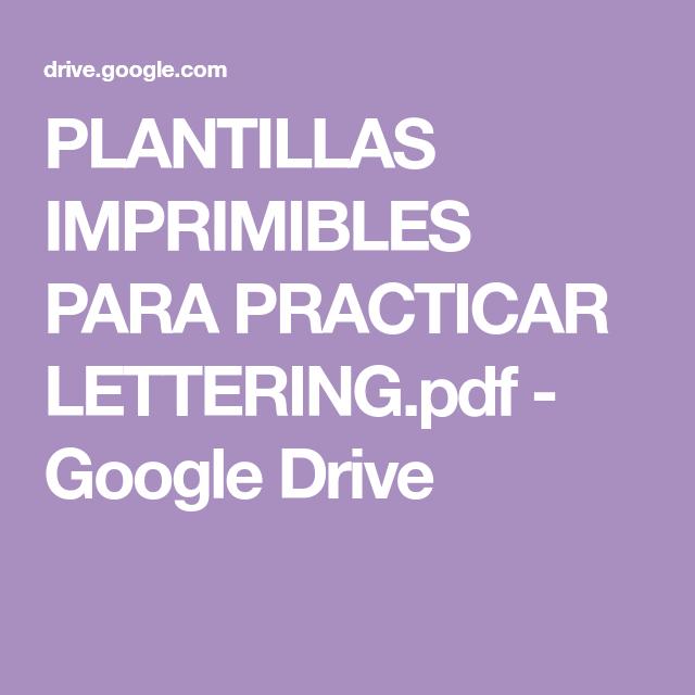 Plantillas Imprimibles Para Practicar Lettering Pdf Google Drive