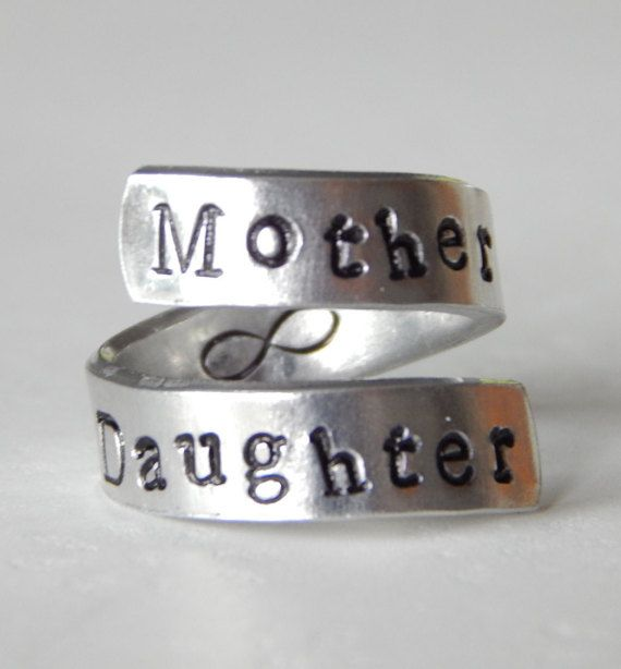 Mother Daughter Forever Spiral Ring  by FamilyHouseStampin on Etsy